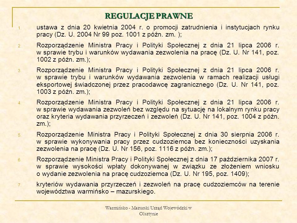 Warmińsko - Mazurski Urząd Wojewódzki w Olsztynie ZMIANY W ZAKRESIE WYKONYWANEJ PRACY NA PODSTAWIE ZEZWOLENIA.