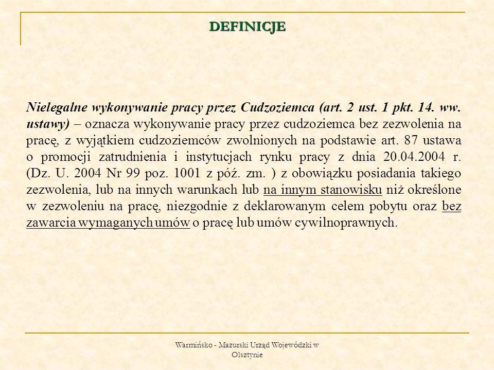 Warmińsko - Mazurski Urząd Wojewódzki w Olsztynie OBOWIĄZEK ZWROTU WYDANEGO PRZYRZECZENIA I ZEZWOLENIA NA PRACĘ Wydane przyrzeczenie i zezwolenie na pracę należy niezwłocznie zwrócić w przypadku gdy cudzoziemiec: zrezygnuje z wykonywania pracy, zakończy wykonywanie pracy przed upływem terminu ważności zezwolenia, nie rozpocznie wykonywania pracy w terminie określonym w zezwoleniu.
