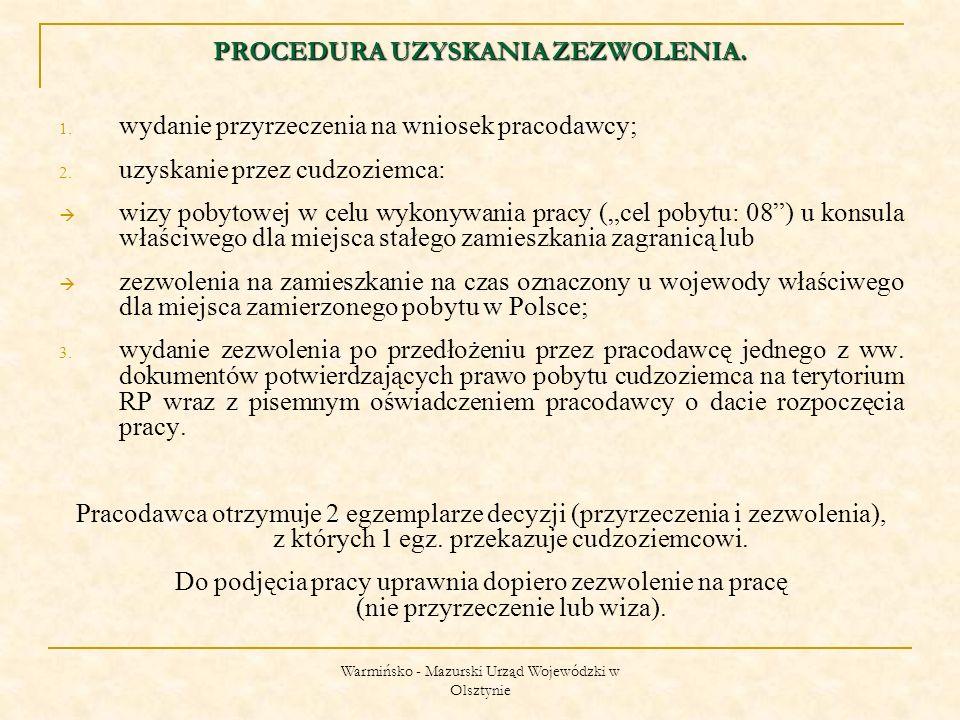 Warmińsko - Mazurski Urząd Wojewódzki w Olsztynie DOKUMENTY WYMAGANE PRZY ZŁOŻENIU WNIOSKU O WYDANIE ZEZWOLENIA NA PRACĘ: pisemne potwierdzenie złożenia oferty pracy w powiatowym urzędzie pracy (przy składaniu oferty w PUP, pracodawca powinien zaznaczyć, że winna być ona uwidoczniona w systemie informatycznym wymiany informacji o wolnych miejscach pracy Europejskich Służb Zatrudnienia – EURES); odpowiedź Powiatowego Urzędu Pracy na ww.
