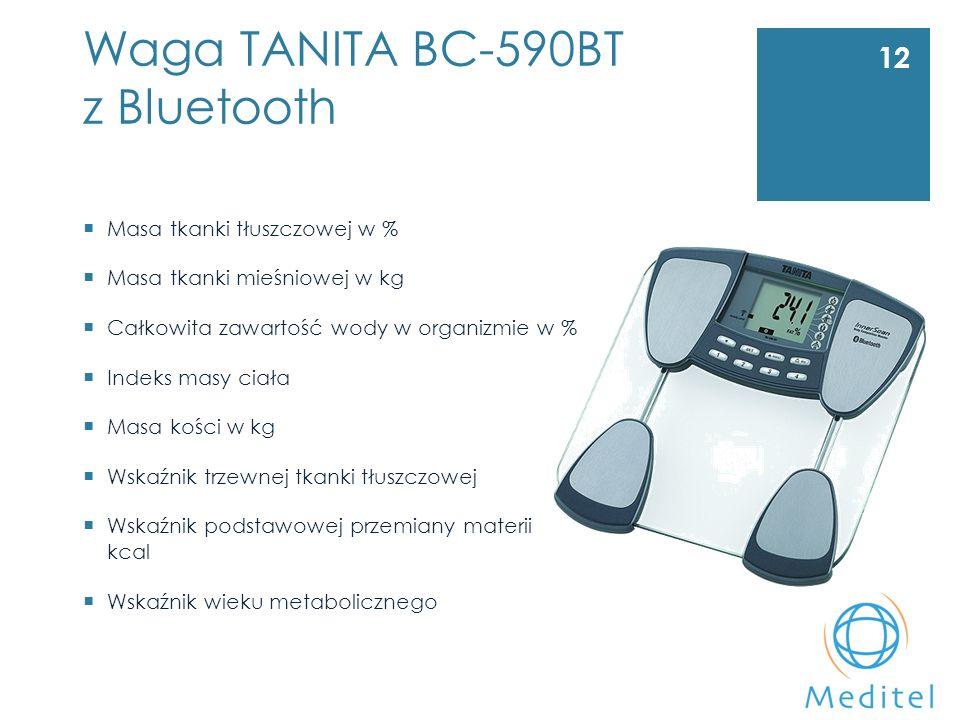 Waga TANITA BC-590BT z Bluetooth 12  Masa tkanki tłuszczowej w %  Masa tkanki mieśniowej w kg  Całkowita zawartość wody w organizmie w %  Indeks masy ciała  Masa kości w kg  Wskaźnik trzewnej tkanki tłuszczowej  Wskaźnik podstawowej przemiany materii kcal  Wskaźnik wieku metabolicznego