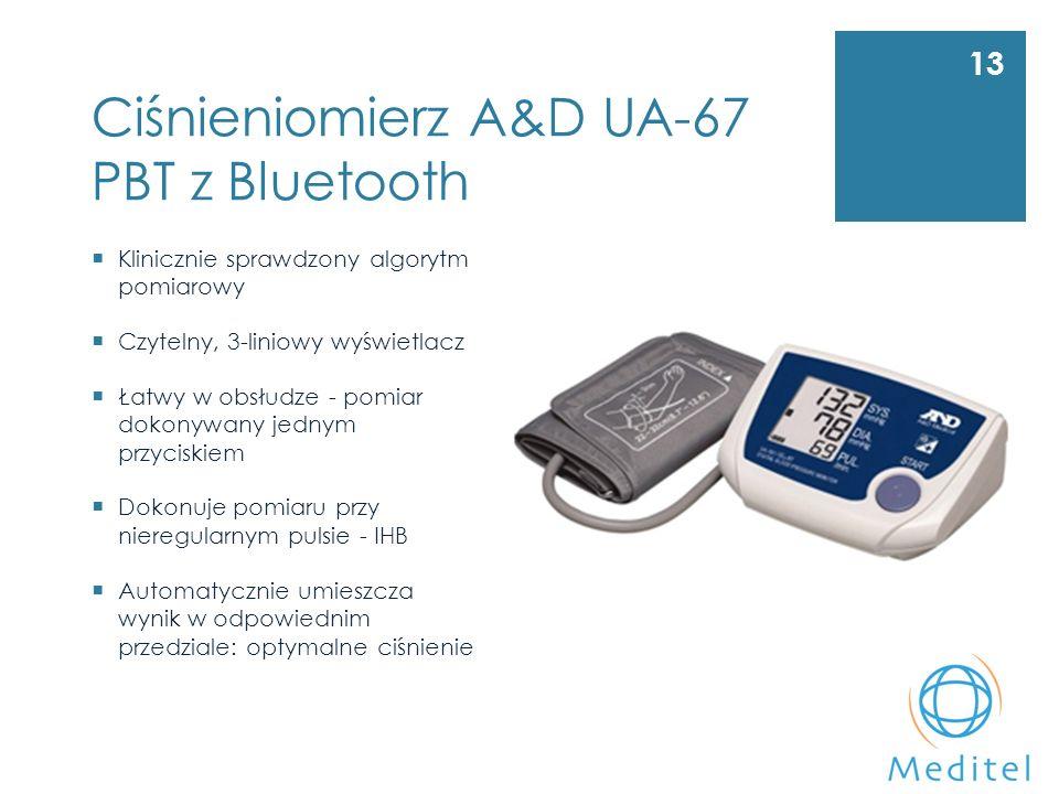 Ciśnieniomierz A&D UA-67 PBT z Bluetooth 13  Klinicznie sprawdzony algorytm pomiarowy  Czytelny, 3-liniowy wyświetlacz  Łatwy w obsłudze - pomiar dokonywany jednym przyciskiem  Dokonuje pomiaru przy nieregularnym pulsie - IHB  Automatycznie umieszcza wynik w odpowiednim przedziale: optymalne ciśnienie