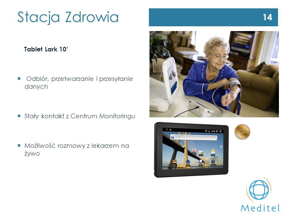 Stacja Zdrowia Tablet Lark 10'  Odbiór, przetwarzanie i przesyłanie danych  Stały kontakt z Centrum Monitoringu  Możliwość rozmowy z lekarzem na żywo 14