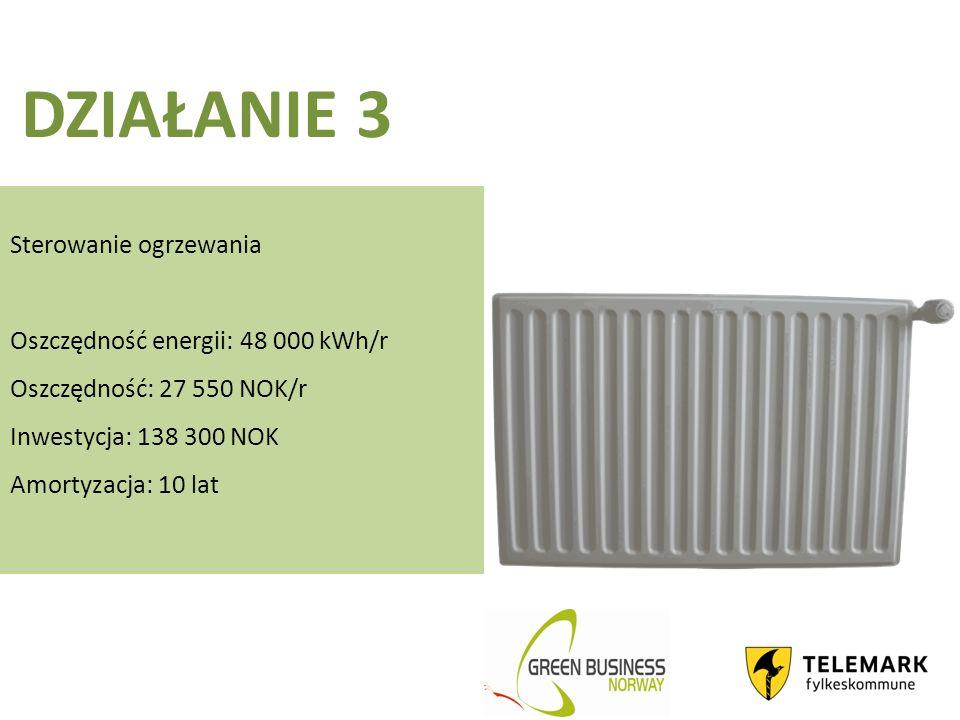 DZIAŁANIE 3 Sterowanie ogrzewania Oszczędność energii: 48 000 kWh/r Oszczędność: 27 550 NOK/r Inwestycja: 138 300 NOK Amortyzacja: 10 lat