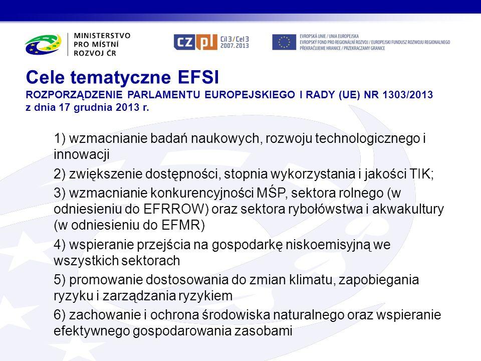 Cele tematyczne EFSI ROZPORZĄDZENIE PARLAMENTU EUROPEJSKIEGO I RADY (UE) NR 1303/2013 z dnia 17 grudnia 2013 r.