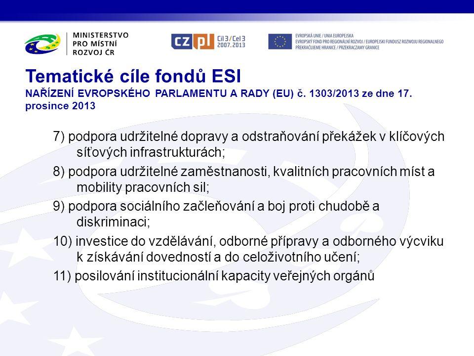 Tematické cíle fondů ESI NAŘÍZENÍ EVROPSKÉHO PARLAMENTU A RADY (EU) č.