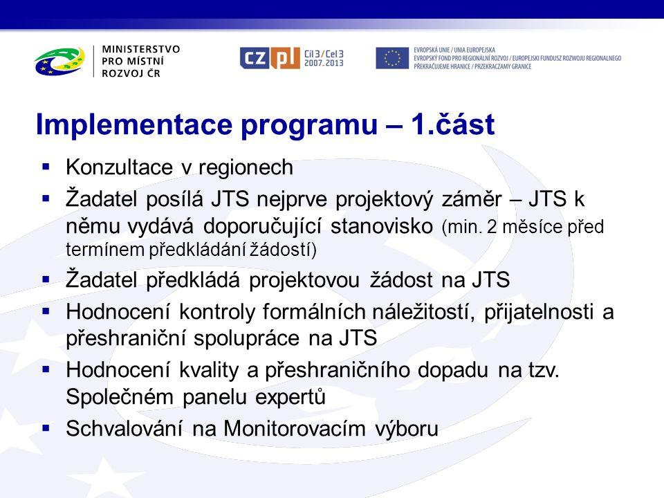 Implementace programu – 1.část  Konzultace v regionech  Žadatel posílá JTS nejprve projektový záměr – JTS k němu vydává doporučující stanovisko (min.
