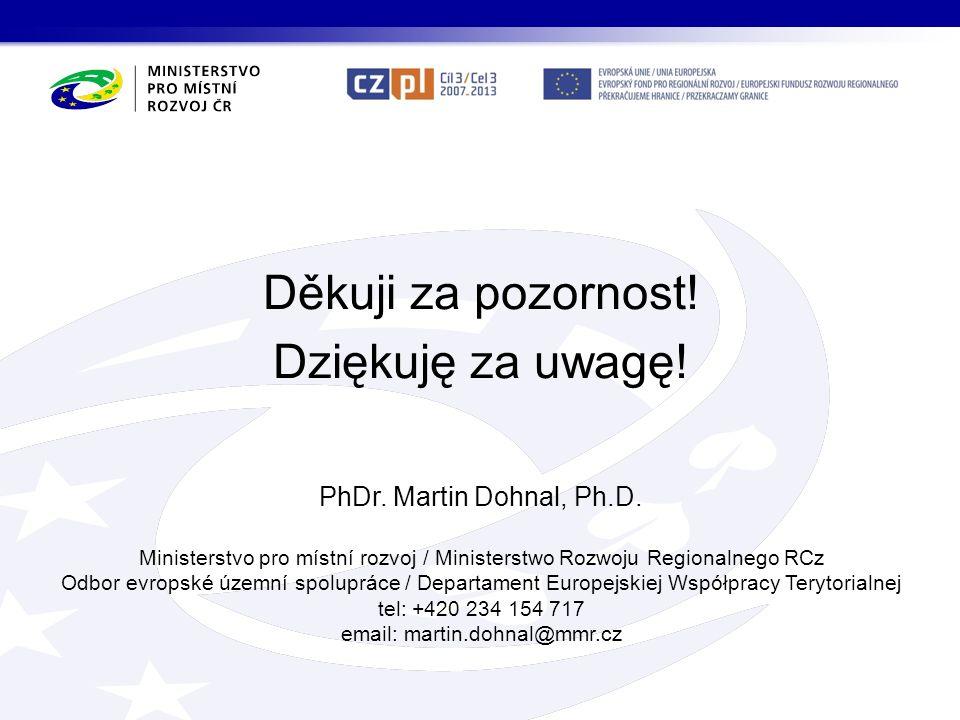 Děkuji za pozornost! Dziękuję za uwagę! PhDr. Martin Dohnal, Ph.D. Ministerstvo pro místní rozvoj / Ministerstwo Rozwoju Regionalnego RCz Odbor evrops