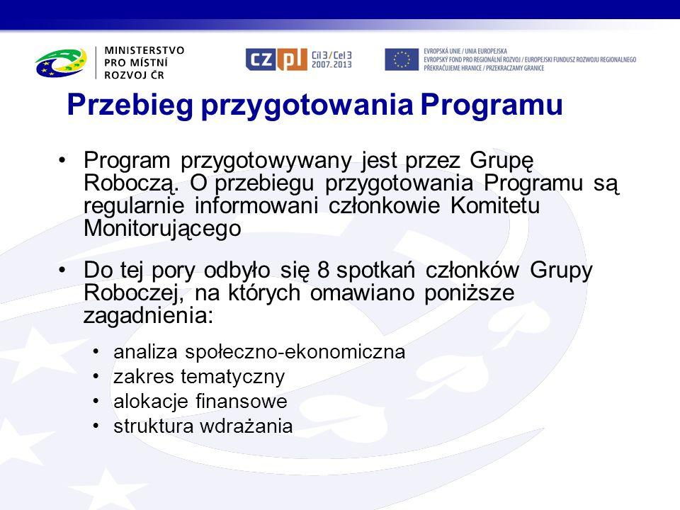 Územní vymezení ČR: Liberecký, Královéhradecký, Pardubický, Olomoucký a Moravskoslezský kraj PR: NUTS 3: -bielski a rybnicki (slezské vojvodství), -jeleniogórski a wałbrzyski (dolnoslezské vojvodství), -nyski a opolski (opolské vojvodství) + okres strzeliński (podregion wrocławski, dolnoslezské vojvodství) okres pszczyński (podregion tyski, slezské vojvodství).