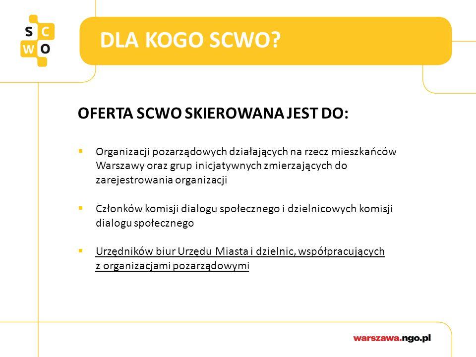 DLA KOGO SCWO? OFERTA SCWO SKIEROWANA JEST DO:  Organizacji pozarządowych działających na rzecz mieszkańców Warszawy oraz grup inicjatywnych zmierzaj