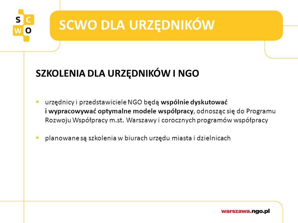 SCWO DLA URZĘDNIKÓW SZKOLENIA DLA URZĘDNIKÓW I NGO  urzędnicy i przedstawiciele NGO będą wspólnie dyskutować i wypracowywać optymalne modele współpra