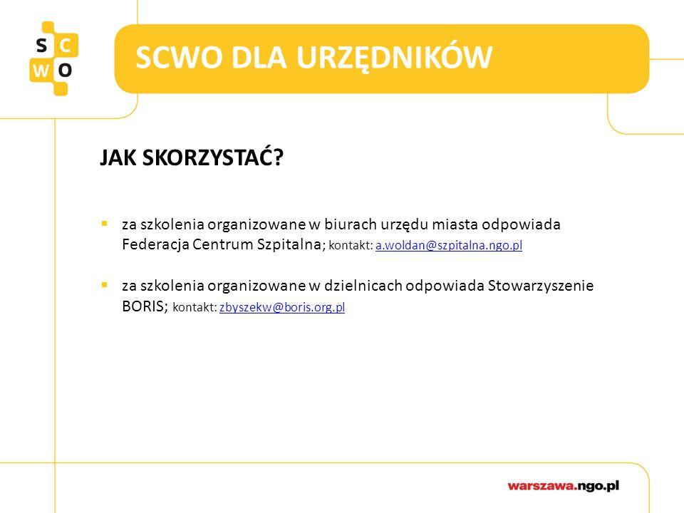 SCWO DLA URZĘDNIKÓW JAK SKORZYSTAĆ?  za szkolenia organizowane w biurach urzędu miasta odpowiada Federacja Centrum Szpitalna ; kontakt: a.woldan@szpi