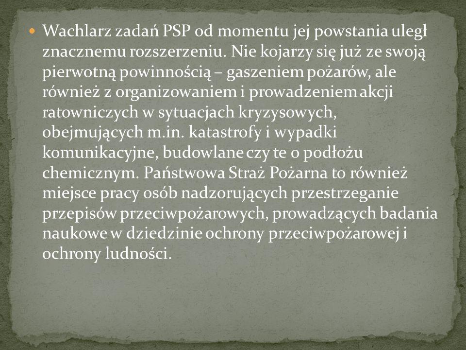Wachlarz zadań PSP od momentu jej powstania uległ znacznemu rozszerzeniu.