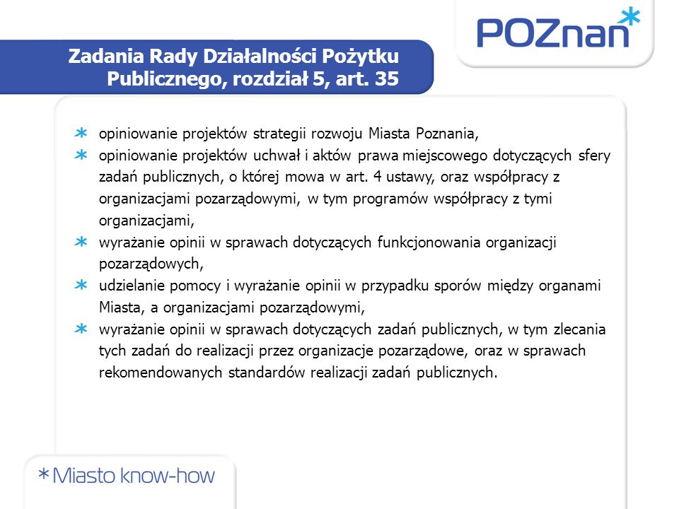 Zadania Rady Działalności Pożytku Publicznego, rozdział 5, art.