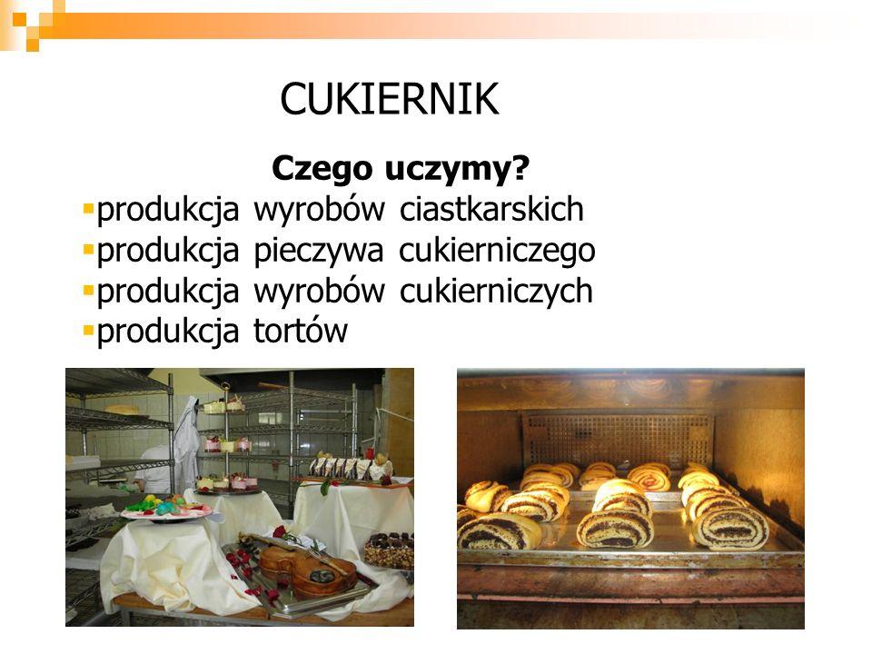 Czego uczymy? pprodukcja wyrobów ciastkarskich pprodukcja pieczywa cukierniczego pprodukcja wyrobów cukierniczych pprodukcja tortów CUKIERNIK