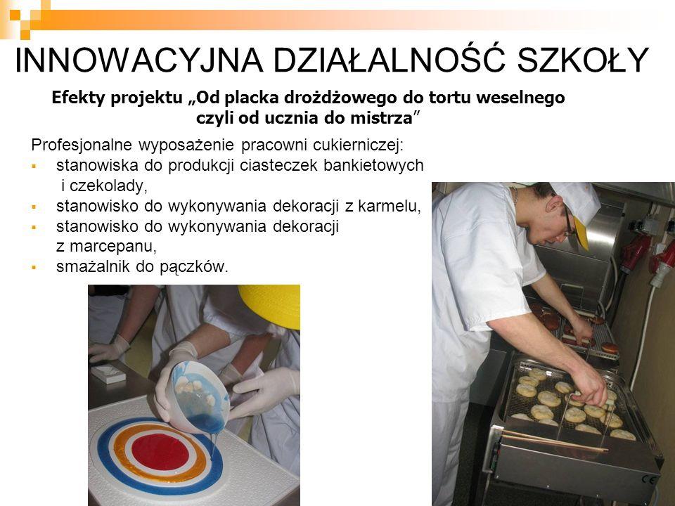 INNOWACYJNA DZIAŁALNOŚĆ SZKOŁY Profesjonalne wyposażenie pracowni cukierniczej:  stanowiska do produkcji ciasteczek bankietowych i czekolady,  stano