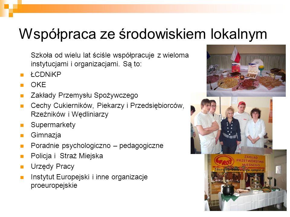 Współpraca ze środowiskiem lokalnym Szkoła od wielu lat ściśle współpracuje z wieloma instytucjami i organizacjami. Są to: ŁCDNiKP OKE Zakłady Przemys