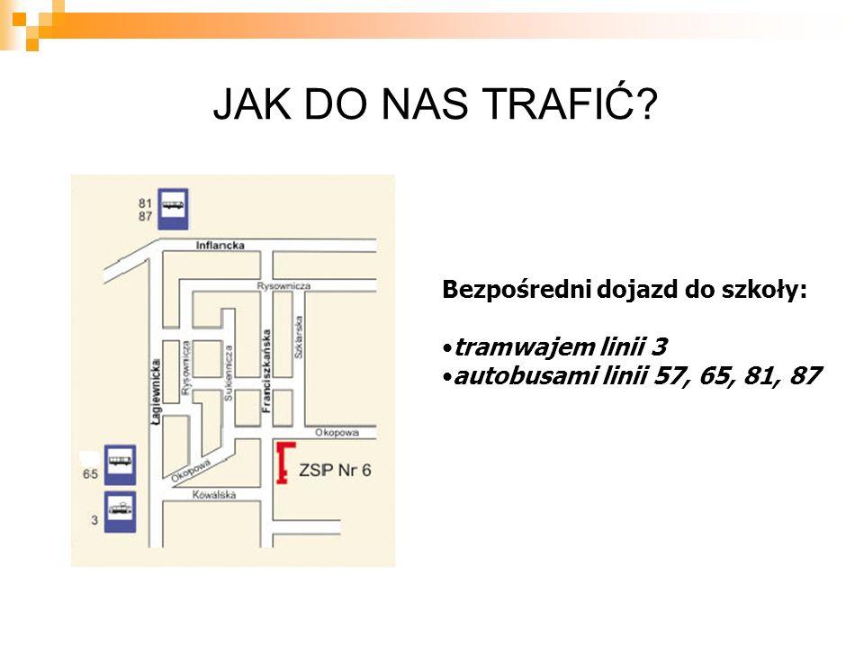 JAK DO NAS TRAFIĆ Bezpośredni dojazd do szkoły: tramwajem linii 3 autobusami linii 57, 65, 81, 87