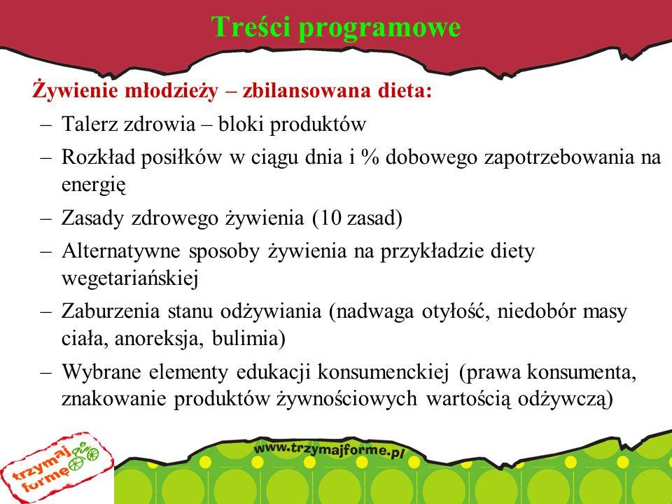 Treści programowe Żywienie młodzieży – zbilansowana dieta: –Talerz zdrowia – bloki produktów –Rozkład posiłków w ciągu dnia i % dobowego zapotrzebowania na energię –Zasady zdrowego żywienia (10 zasad) –Alternatywne sposoby żywienia na przykładzie diety wegetariańskiej –Zaburzenia stanu odżywiania (nadwaga otyłość, niedobór masy ciała, anoreksja, bulimia) –Wybrane elementy edukacji konsumenckiej (prawa konsumenta, znakowanie produktów żywnościowych wartością odżywczą)