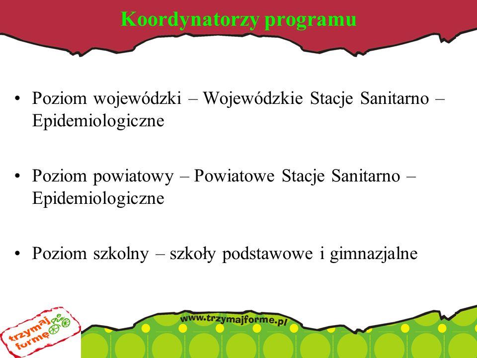 Koordynatorzy programu Poziom wojewódzki – Wojewódzkie Stacje Sanitarno – Epidemiologiczne Poziom powiatowy – Powiatowe Stacje Sanitarno – Epidemiologiczne Poziom szkolny – szkoły podstawowe i gimnazjalne