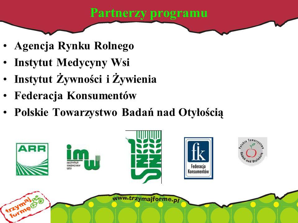 Partnerzy programu Agencja Rynku Rolnego Instytut Medycyny Wsi Instytut Żywności i Żywienia Federacja Konsumentów Polskie Towarzystwo Badań nad Otyłością