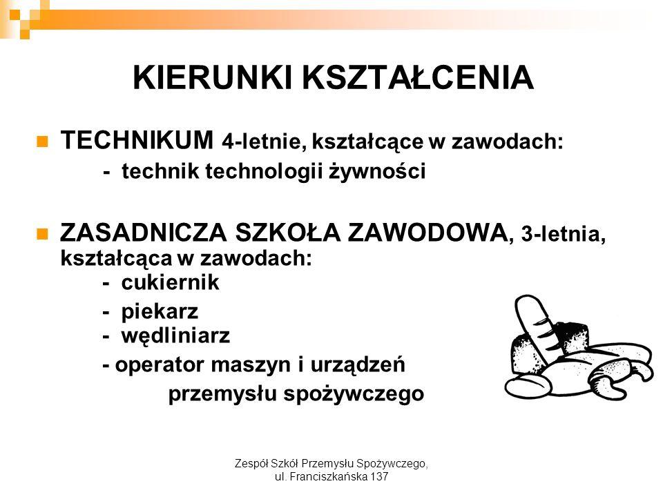 KIERUNKI KSZTAŁCENIA TECHNIKUM 4-letnie, kształcące w zawodach: - technik technologii żywności ZASADNICZA SZKOŁA ZAWODOWA, 3-letnia, kształcąca w zawodach: - cukiernik - piekarz - wędliniarz - operator maszyn i urządzeń przemysłu spożywczego Zespół Szkół Przemysłu Spożywczego, ul.