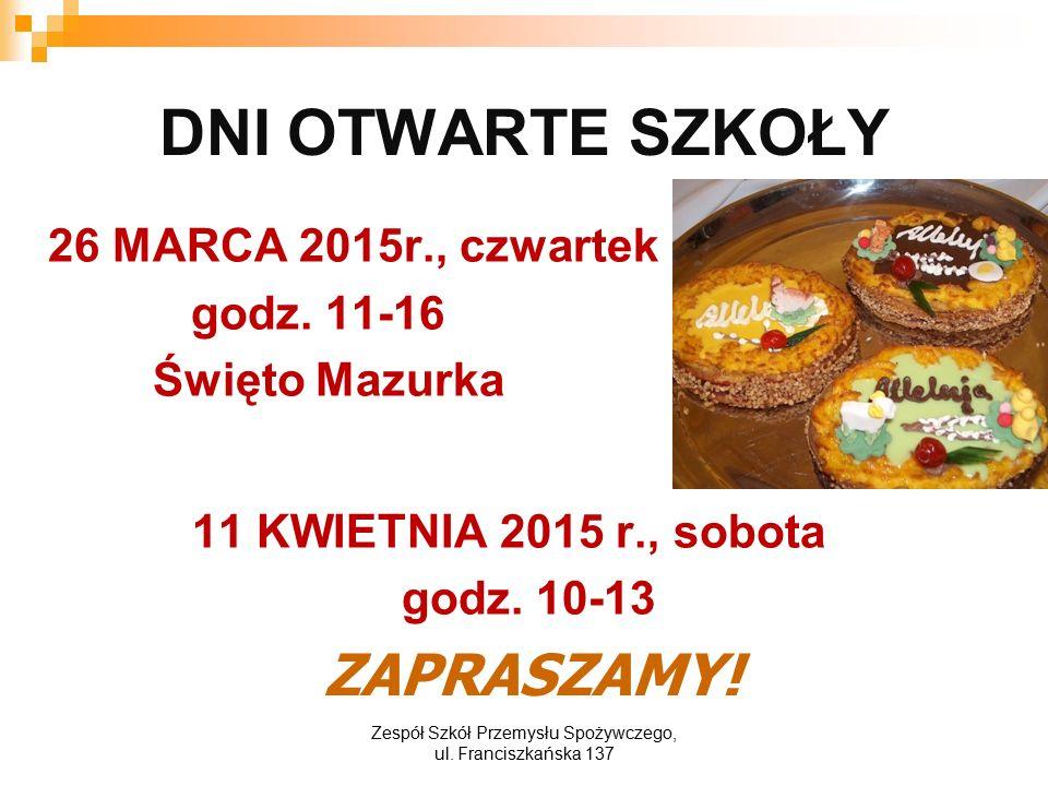 DNI OTWARTE SZKOŁY 26 MARCA 2015r., czwartek godz.