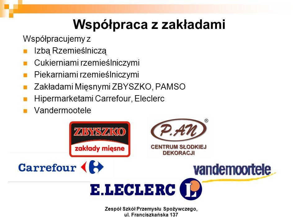 Współpraca z zakładami Współpracujemy z Izbą Rzemieślniczą Cukierniami rzemieślniczymi Piekarniami rzemieślniczymi Zakładami Mięsnymi ZBYSZKO, PAMSO Hipermarketami Carrefour, Eleclerc Vandermootele Zespół Szkół Przemysłu Spożywczego, ul.