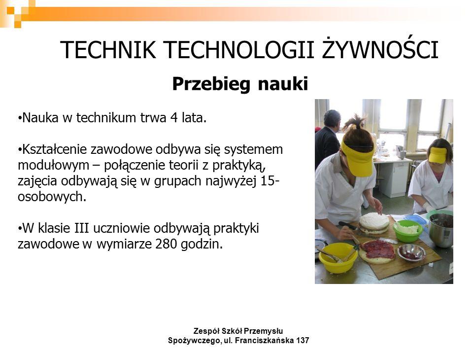 TECHNIK TECHNOLOGII ŻYWNOŚCI Przebieg nauki Zespół Szkół Przemysłu Spożywczego, ul.