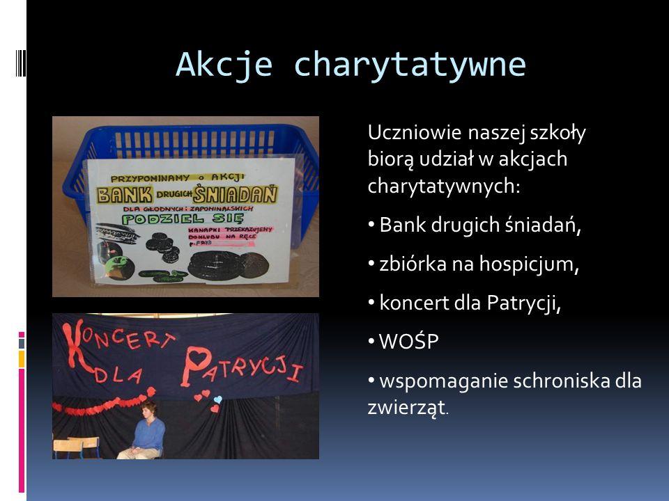 Akcje charytatywne Uczniowie naszej szkoły biorą udział w akcjach charytatywnych: Bank drugich śniadań, zbiórka na hospicjum, koncert dla Patrycji, WOŚP wspomaganie schroniska dla zwierząt.