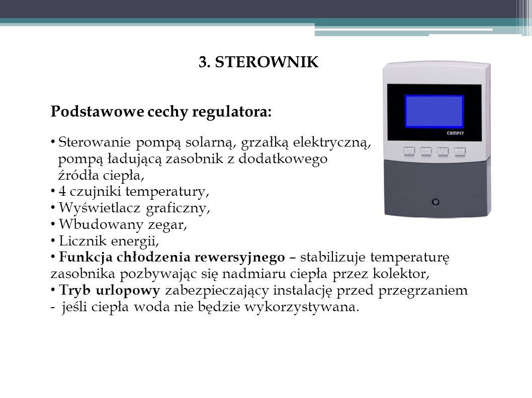 3. STEROWNIK Podstawowe cechy regulatora: Sterowanie pompą solarną, grzałką elektryczną, pompą ładującą zasobnik z dodatkowego źródła ciepła, 4 czujni