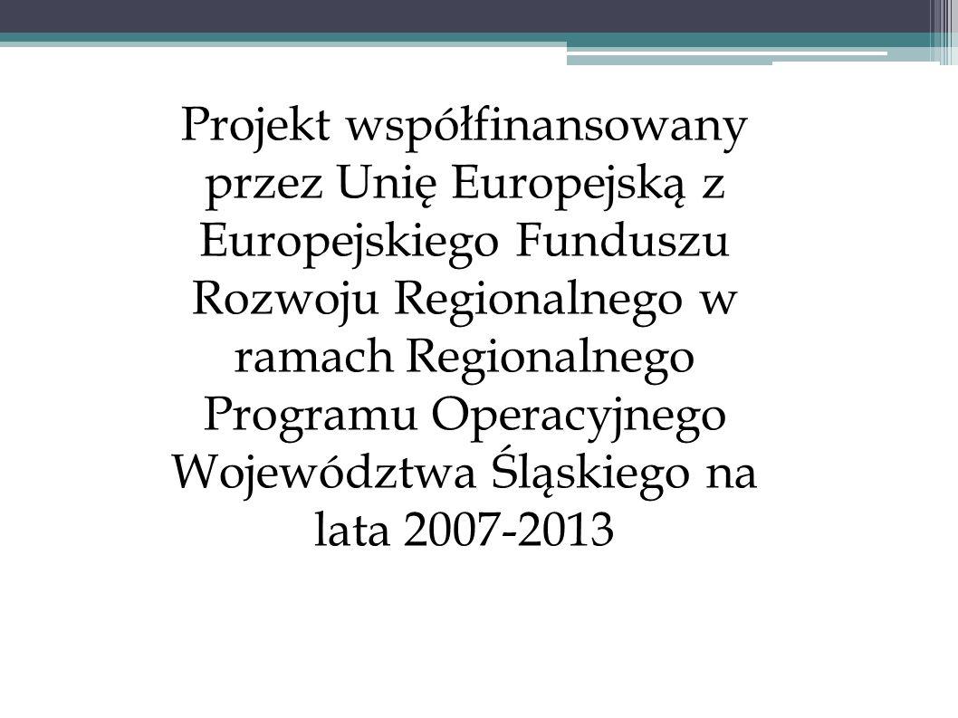 Projekt współfinansowany przez Unię Europejską z Europejskiego Funduszu Rozwoju Regionalnego w ramach Regionalnego Programu Operacyjnego Województwa Ś