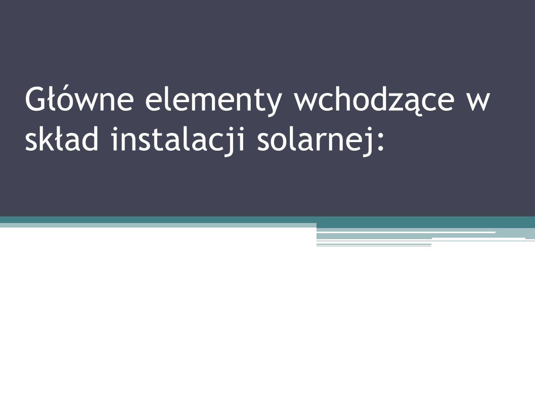Główne elementy wchodzące w skład instalacji solarnej: