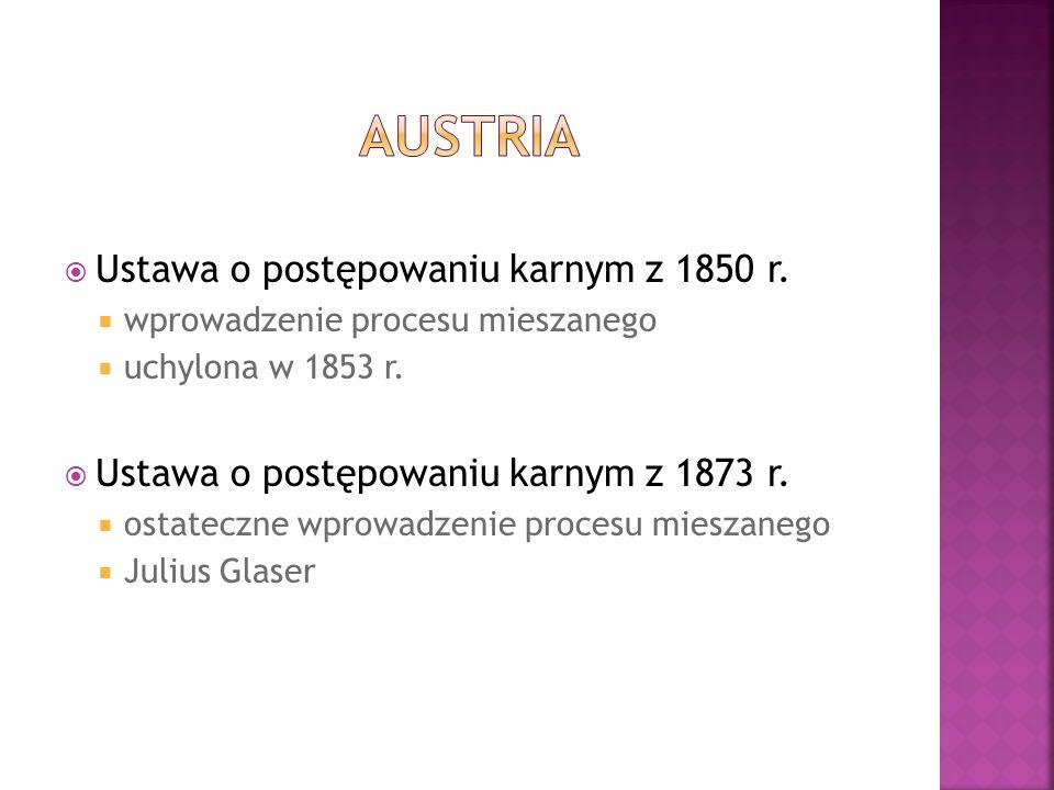  Ustawa o postępowaniu karnym z 1850 r.  wprowadzenie procesu mieszanego  uchylona w 1853 r.