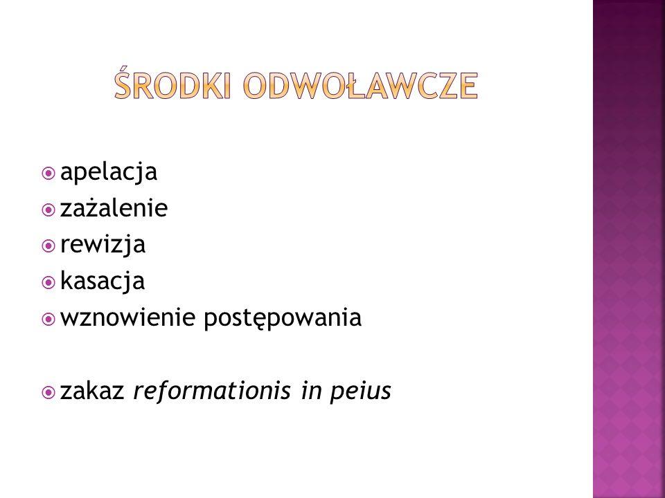  apelacja  zażalenie  rewizja  kasacja  wznowienie postępowania  zakaz reformationis in peius