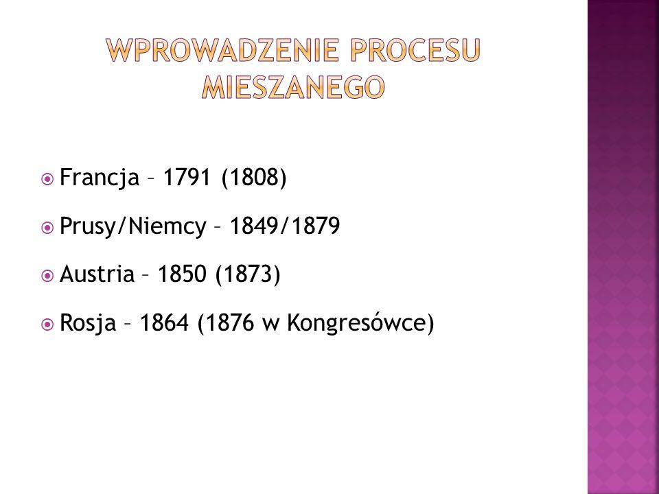  Francja – 1791 (1808)  Prusy/Niemcy – 1849/1879  Austria – 1850 (1873)  Rosja – 1864 (1876 w Kongresówce)