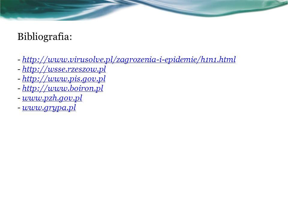 Bibliografia: - http://www.virusolve.pl/zagrozenia-i-epidemie/h1n1.html - http://wsse.rzeszow.pl - http://www.pis.gov.pl - http://www.boiron.pl - www.pzh.gov.pl - www.grypa.plhttp://www.virusolve.pl/zagrozenia-i-epidemie/h1n1.htmlhttp://wsse.rzeszow.plhttp://www.pis.gov.plhttp://www.boiron.plwww.pzh.gov.plwww.grypa.pl
