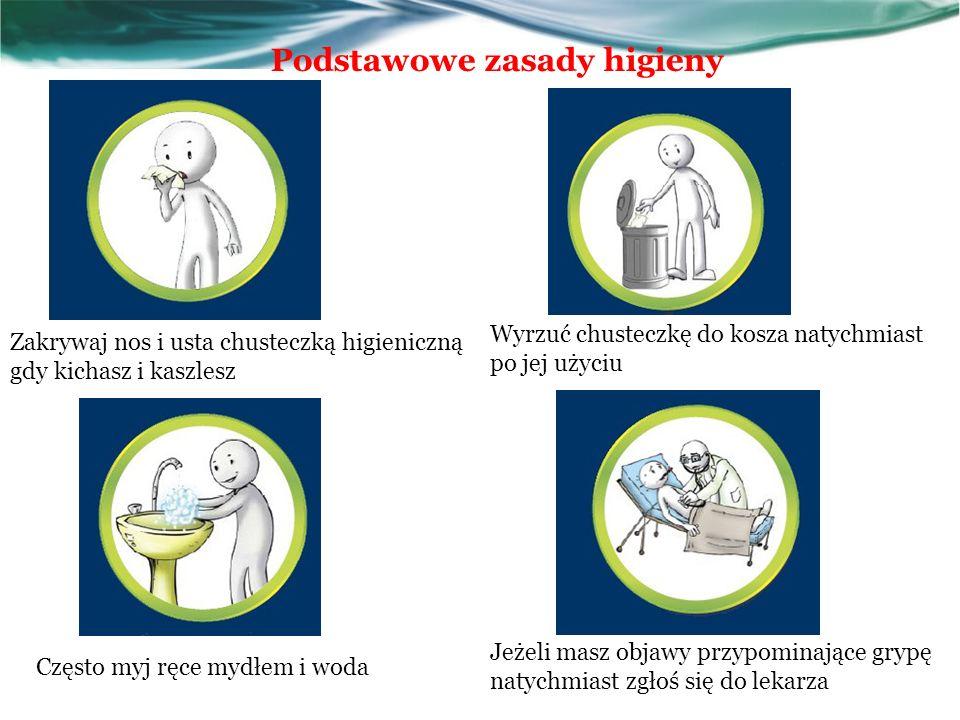 Podstawowe zasady higieny Zakrywaj nos i usta chusteczką higieniczną gdy kichasz i kaszlesz Wyrzuć chusteczkę do kosza natychmiast po jej użyciu Często myj ręce mydłem i woda Jeżeli masz objawy przypominające grypę natychmiast zgłoś się do lekarza