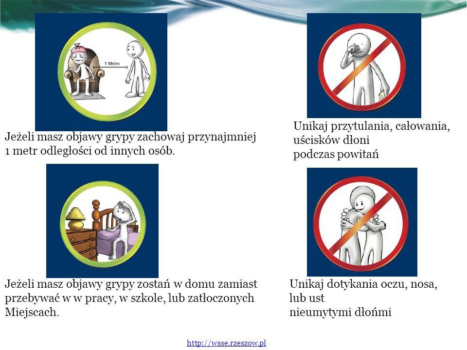 Jeżeli masz objawy grypy zachowaj przynajmniej 1 metr odległości od innych osób.