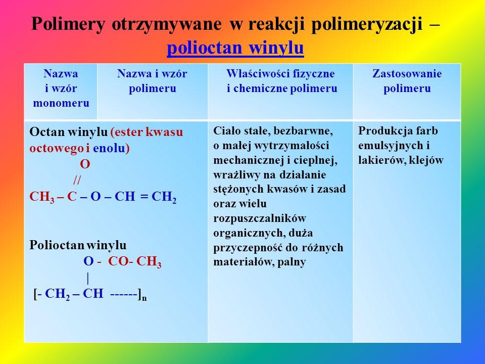 Polimery otrzymywane w reakcji polimeryzacji – polioctan winylu polioctan winylu Nazwa i wzór monomeru Nazwa i wzór polimeru Właściwości fizyczne i ch