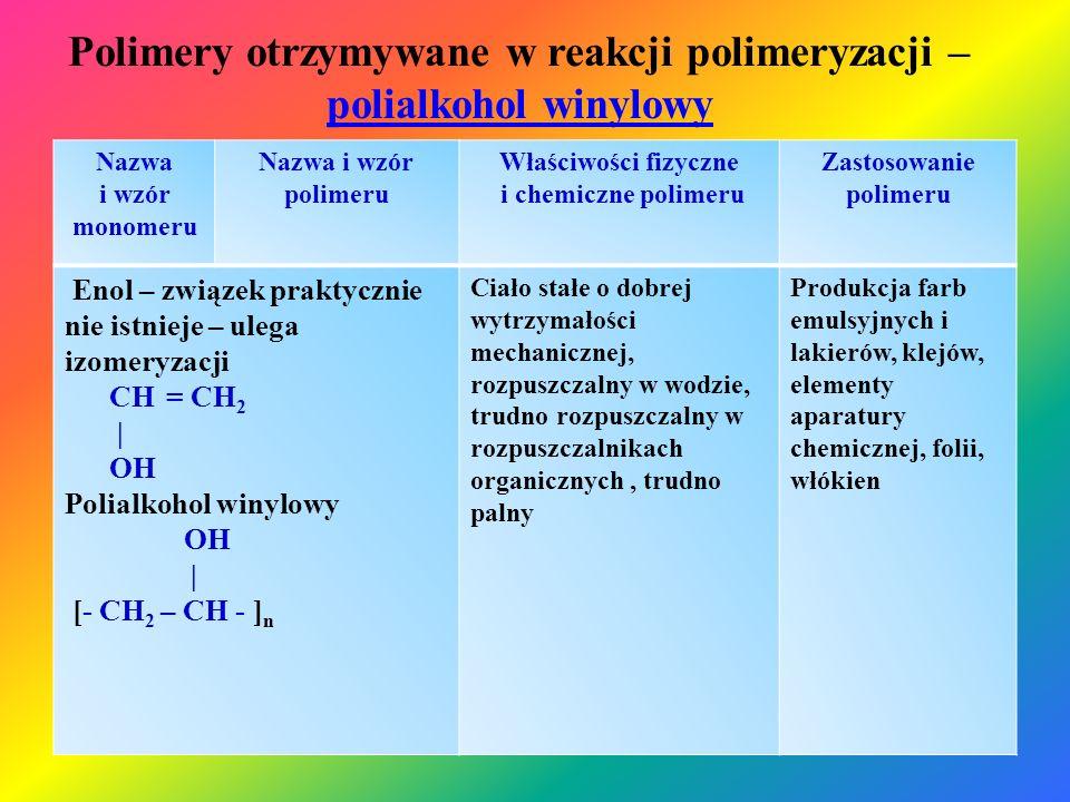 Polimery otrzymywane w reakcji polimeryzacji – polialkohol winylowy polialkohol winylowy Nazwa i wzór monomeru Nazwa i wzór polimeru Właściwości fizyc