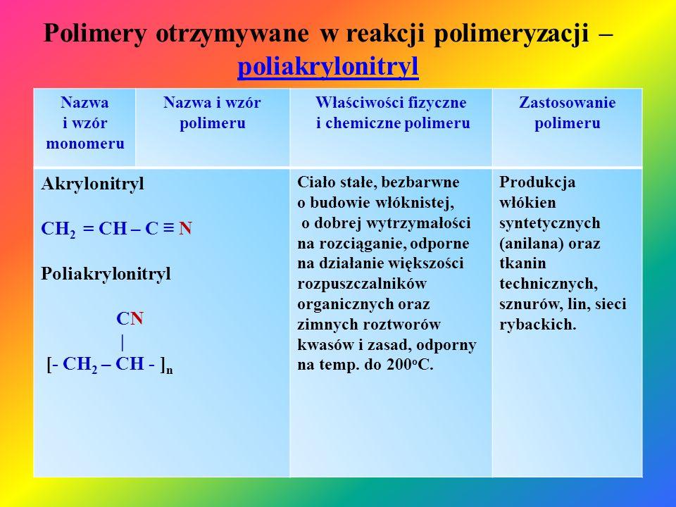 Polimery otrzymywane w reakcji polimeryzacji – poliakrylonitryl poliakrylonitryl Nazwa i wzór monomeru Nazwa i wzór polimeru Właściwości fizyczne i ch