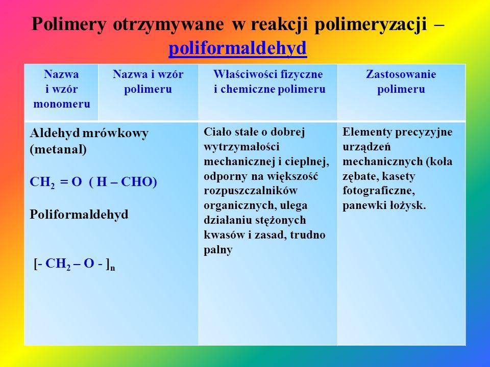 Polimery otrzymywane w reakcji polimeryzacji – poliformaldehyd poliformaldehyd Nazwa i wzór monomeru Nazwa i wzór polimeru Właściwości fizyczne i chem
