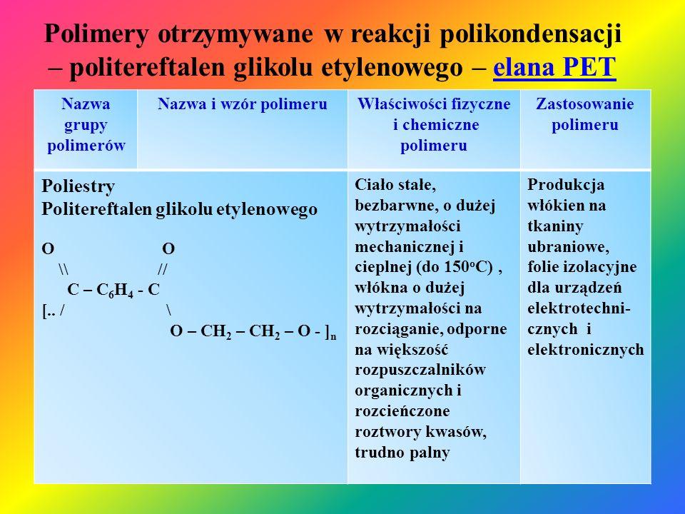 Polimery otrzymywane w reakcji polikondensacji – politereftalen glikolu etylenowego – elana PETelana PET Nazwa grupy polimerów Nazwa i wzór polimeruWł