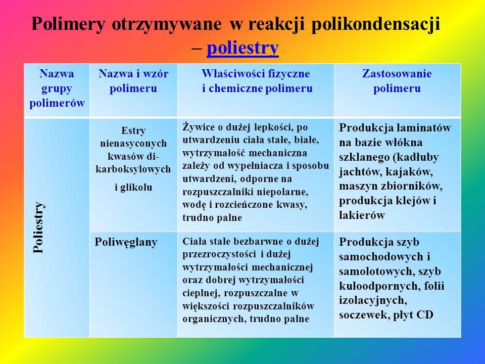 Polimery otrzymywane w reakcji polikondensacji – poliestrypoliestry Nazwa grupy polimerów Nazwa i wzór polimeru Właściwości fizyczne i chemiczne polim