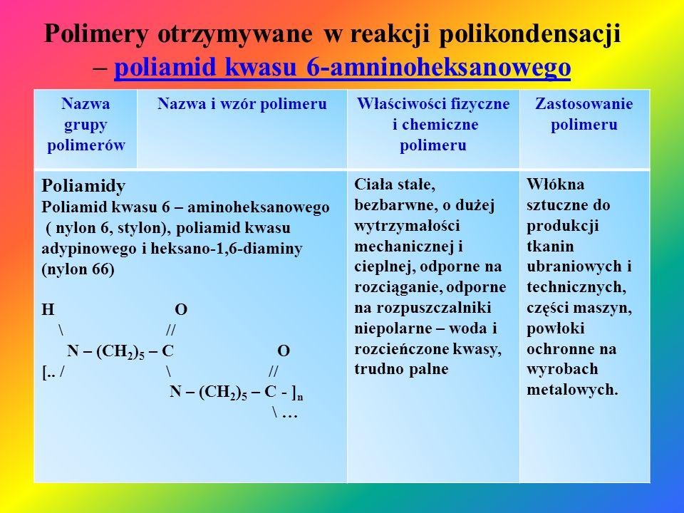 Polimery otrzymywane w reakcji polikondensacji – poliamid kwasu 6-amninoheksanowegopoliamid kwasu 6-amninoheksanowego Nazwa grupy polimerów Nazwa i wz