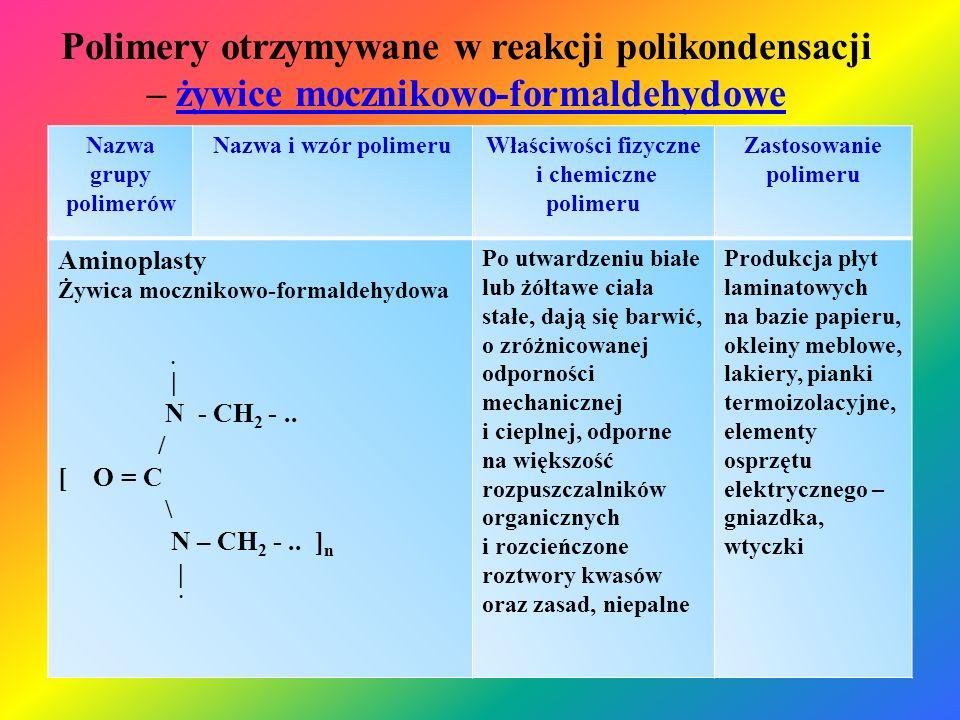 Polimery otrzymywane w reakcji polikondensacji – żywice mocznikowo-formaldehydoweżywice mocznikowo-formaldehydowe Nazwa grupy polimerów Nazwa i wzór p
