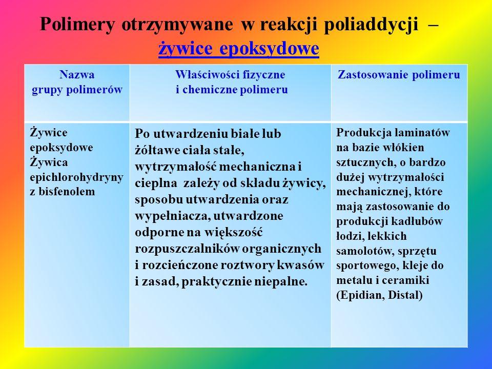 Polimery otrzymywane w reakcji poliaddycji – żywice epoksydowe żywice epoksydowe Nazwa grupy polimerów Właściwości fizyczne i chemiczne polimeru Zasto