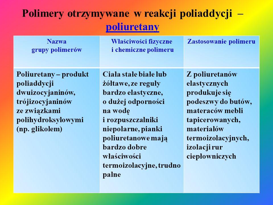 Polimery otrzymywane w reakcji poliaddycji – poliuretany poliuretany Nazwa grupy polimerów Właściwości fizyczne i chemiczne polimeru Zastosowanie poli