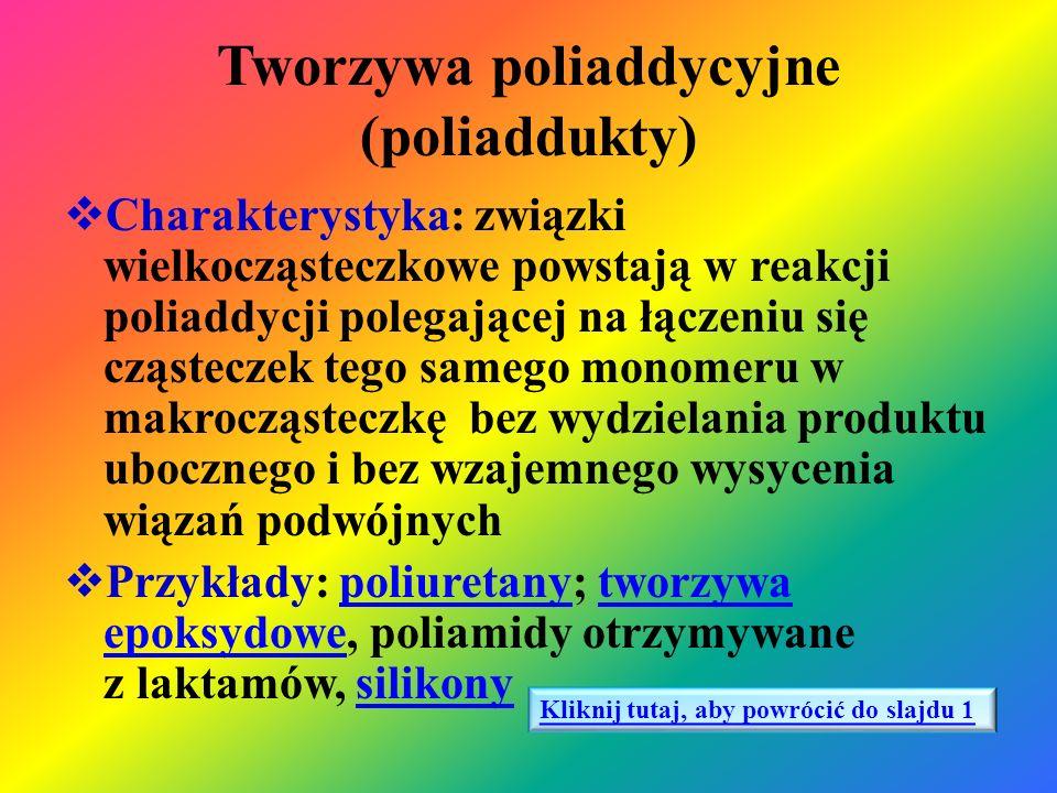 Polimery otrzymywane w reakcji polimeryzacji – poliformaldehyd poliformaldehyd Nazwa i wzór monomeru Nazwa i wzór polimeru Właściwości fizyczne i chemiczne polimeru Zastosowanie polimeru Aldehyd mrówkowy (metanal) CH 2 = O ( H – CHO) Poliformaldehyd [- CH 2 – O - ] n Ciało stałe o dobrej wytrzymałości mechanicznej i cieplnej, odporny na większość rozpuszczalników organicznych, ulega działaniu stężonych kwasów i zasad, trudno palny Elementy precyzyjne urządzeń mechanicznych (koła zębate, kasety fotograficzne, panewki łożysk.