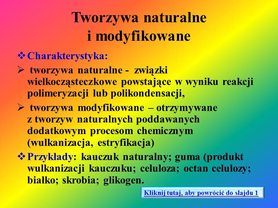 Tworzywa naturalne i modyfikowane  Charakterystyka:  tworzywa naturalne - związki wielkocząsteczkowe powstające w wyniku reakcji polimeryzacji lub p